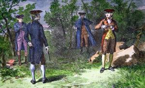 The Burr-Hamilton Duel, 1804 by American School