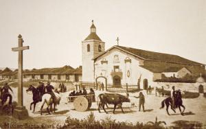 The Spanish Mission, Santa Clara de Asis, California in 1777 by American School
