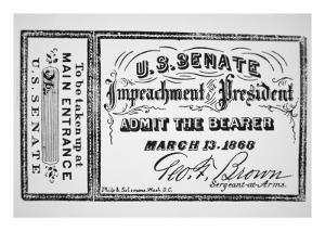 Ticket for the Impeachment of President Andrew Johnson by American School