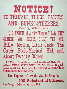 Vigilante Notice of 1882 by American School