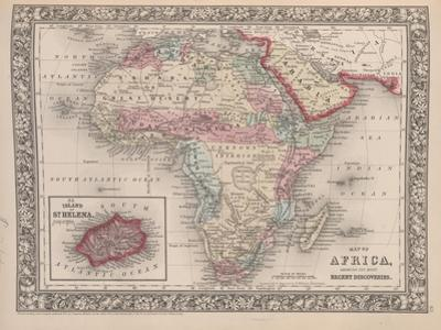 Vintage Map of Africa with the Island of St. Helena inset from Mitchell's new general atlas, 1863 by American School
