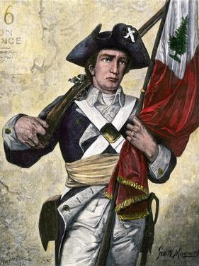 American Soldier Carrying the Pine Tree Flag, Revolutionary War