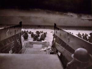 American Soldiers Wade from Landing Craft to the Omaha Beach, D-Day, June 6, 1944