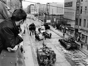 American Tanks at the Friedrichstrasse Checkpoint Crossing Through the Berlin Wall