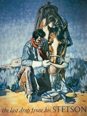 The Last Drop from His Stetson (Colour Litho) by American
