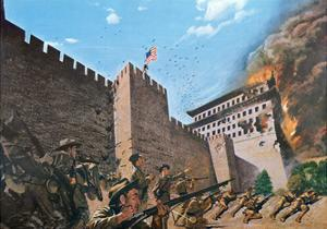 American Troops Scaling the Tartar Wall in Peking in 1900 During the Boxer Rebellion