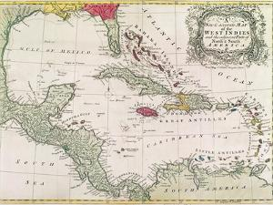 Vintage Map of the West Indies by American