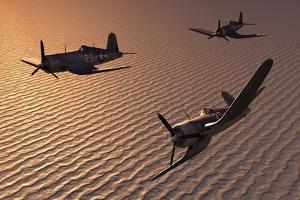 American Vought F4U Corsair Aircraft in Flight During World War Ii