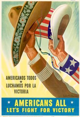 Americans All Americanos Todos Let's Fight For Victory WWII War Propaganda Art Print Poster