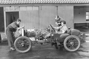Amherst Villiers and a Mechanic Taking the Revs of a Bugatti Cordon Rouge, C1920S