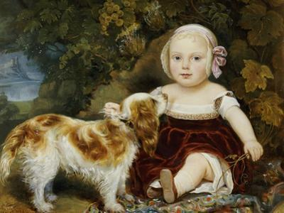 A Young Child with a Brown and White Spaniel by a Leafy Bank, 19th Century