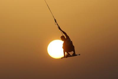 An Israeli Man Kite Surfs in the Mediterranean Sea at the Southern Israeli City of Ashkelon