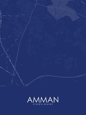 Amman, Jordan Blue Map