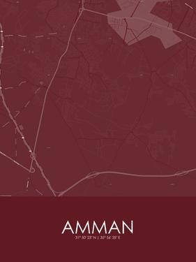 Amman, Jordan Red Map