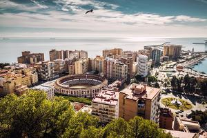 Aerial View of Malaga Bullring and Harbor. Spain by amok