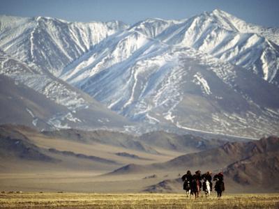 Four Eagle Hunters in Tolbo Sum, Golden Eagle Festival, Mongolia