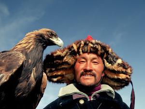 Takhuu Head Eagle Man, Altai Sum, Golden Eagle Festival, Mongolia by Amos Nachoum