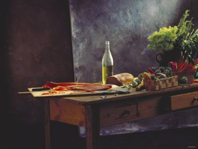 Still Life: Salmon, Olive Oil, Bread & Vegetables on Table