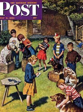 """""""Backyard Dog Show"""" Saturday Evening Post Cover, July 8, 1950 by Amos Sewell"""