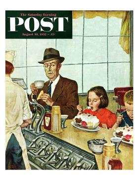 """Banana Split"" Saturday Evening Post Cover, August 16, 1952 by Amos Sewell"
