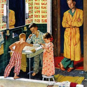 """""""Brushing Their Teeth"""", January 29, 1955 by Amos Sewell"""