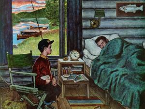 """""""Dad, the Fish are Biting,"""" August 25, 1962 by Amos Sewell"""