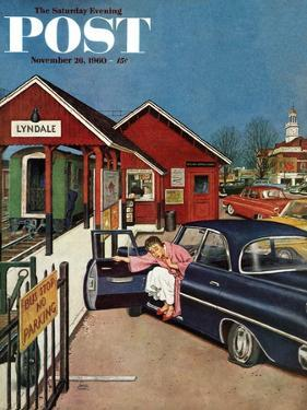 """Flat Tire at the Commuter Station,"" Saturday Evening Post Cover, November 26, 1960 by Amos Sewell"