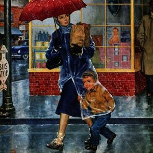 """Leaving Grocery in Rain"", April 24, 1954 by Amos Sewell"