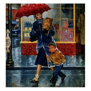 """""""Leaving Grocery in Rain"""", April 24, 1954 by Amos Sewell"""