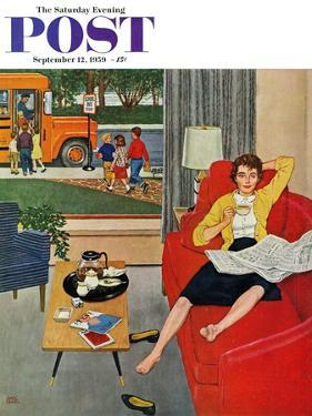 """""""Morning Coffee Break"""" Saturday Evening Post Cover, September 12, 1959 by Amos Sewell"""