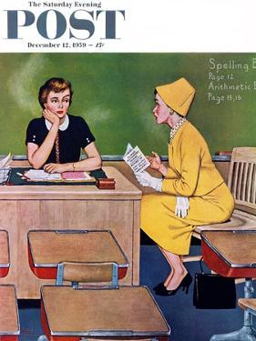 """""""Parent - Teacher Conference"""" Saturday Evening Post Cover, December 12, 1959 by Amos Sewell"""