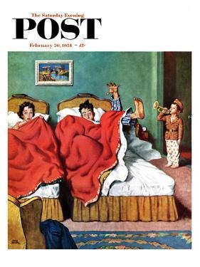 """Parents' Reveille"" Saturday Evening Post Cover, February 20, 1954 by Amos Sewell"
