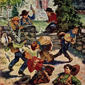 """""""Playing Cowboy"""", March 11, 1950 by Amos Sewell"""