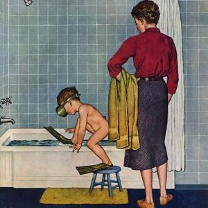 """""""Scuba in the Tub"""", November 29, 1958 by Amos Sewell"""