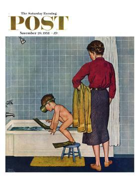 """""""Scuba in the Tub"""" Saturday Evening Post Cover, November 29, 1958 by Amos Sewell"""