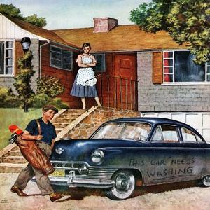 """""""This Car Needs Washing"""", October 3, 1953 by Amos Sewell"""