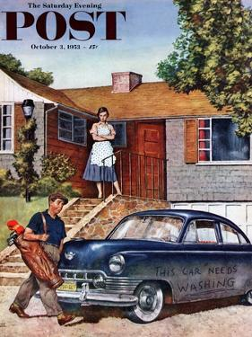 """""""This Car Needs Washing"""" Saturday Evening Post Cover, October 3, 1953 by Amos Sewell"""