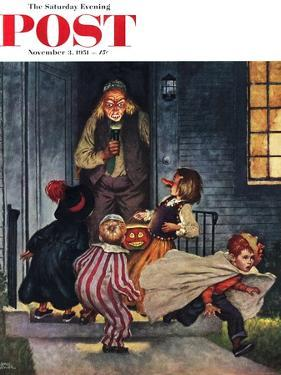 """""""Tricking Trick-Or-Treaters"""" Saturday Evening Post Cover, November 3, 1951 by Amos Sewell"""