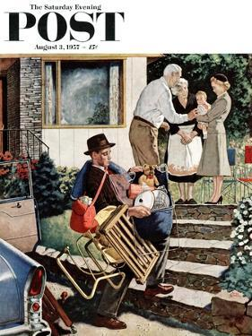 """""""Visiting the Grandparents"""" Saturday Evening Post Cover, August 3, 1957 by Amos Sewell"""