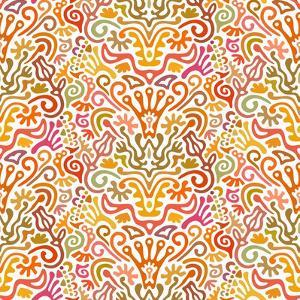 Funny Colorful Seamless Pattern with Abstract Flowers, Leaves, Hearts, Crowns, Eggs, Keys, by amovita