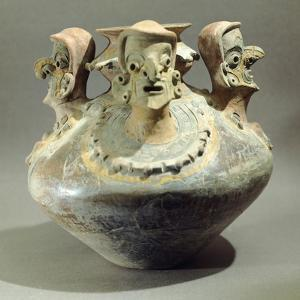 Amphora Decorated with Three Human Heads Originating from Bahia, Ecuador