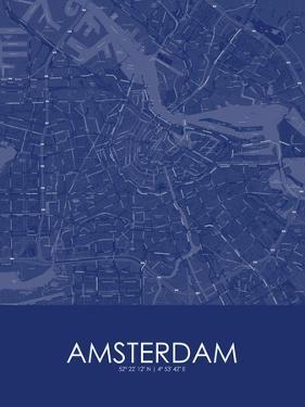 Amsterdam, Netherlands Blue Map