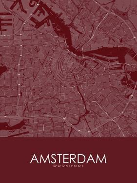 Amsterdam, Netherlands Red Map