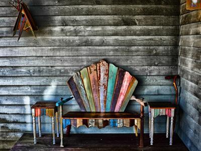 Colorful Re-purposed Tables and Bench on a Porch. Processed with a Detail Extractor Filter by Amy & Al White & Petteway