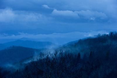 Pre-dawn Light Casts a Blue Hue Over Forested Mountains and Clouds by Amy & Al White & Petteway