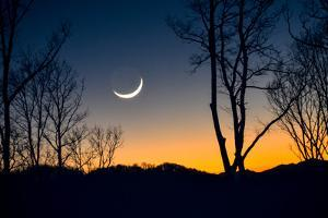 A Crescent Moon Hangs Low in the Sky over the Blue Ridge Mountains, Just after Sunset by Amy and Al White and Petteway