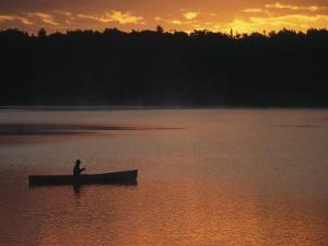 Man Fishing on Lake, Quetico Provincial Park by Amy And Chuck Wiley/wales