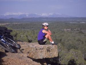 Woman Mountain Biking, Sitting by Amy And Chuck Wiley/wales