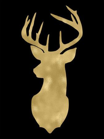 Deer Head Left Face Golden Black by Amy Brinkman