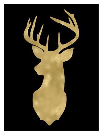 Deer Head Left Face Golden Black by Amy Brinkman